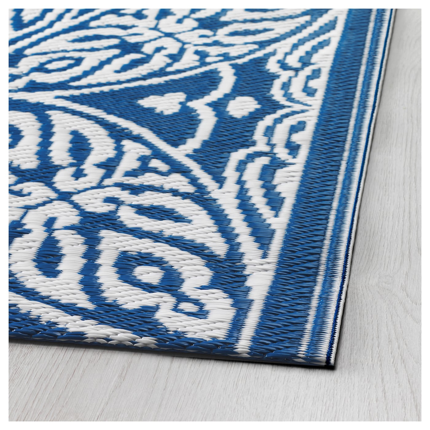SOMMAR 2016 Rug flatwoven In outdoor blue white 75x200 cm