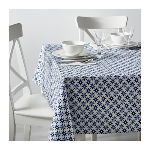 sommar 2016 tablecloth white blue 145x240 cm ikea. Black Bedroom Furniture Sets. Home Design Ideas
