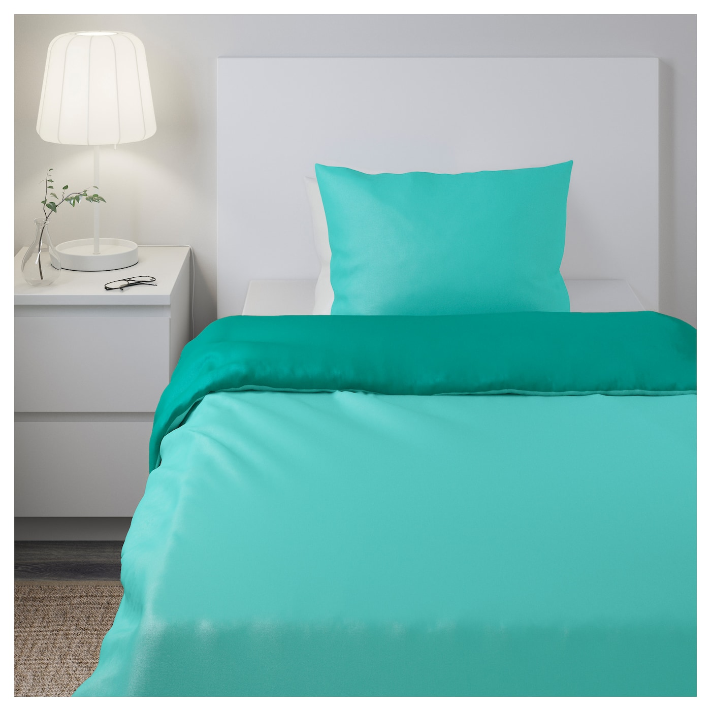 sommar 2017 quilt cover and 2 pillowcases turquoise dark
