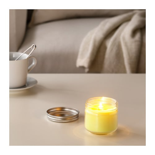 IKEA SOMMAR 2017 scented candle in glass A refreshing scent of ripe citrus fruits and bergamot.