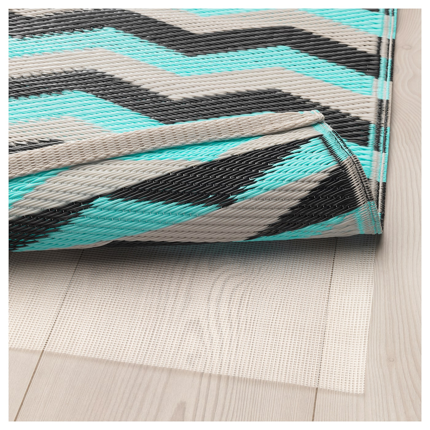 Sommar 2018 Rug Flatwoven In Outdoor Turquoise 75x200 Cm