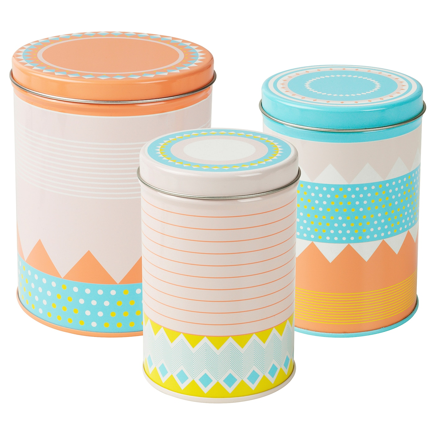 IKEA SOMMAR 2018 tin, set of 3 Suitable for coffee, tea and other dry food.