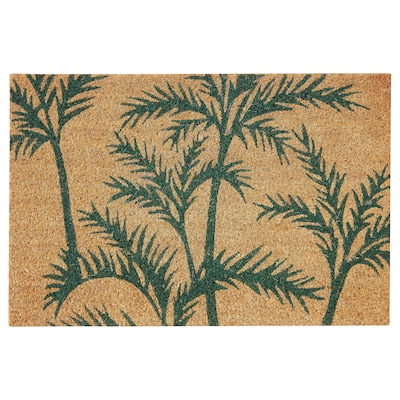 SOMMAR 2020 door mat, indoor green palm/natural 60 cm 40 cm 16 mm 0.24 m² 6350 g/m²