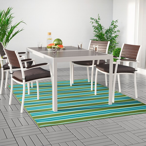 SOMMAR 2020 rug flatwoven, in/outdoor striped/green/white 240 cm 170 cm 2 mm 4.08 m² 800 g/m²