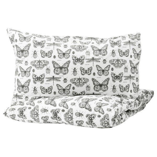 SOMMARMALVA Quilt cover and 2 pillowcases, white/dark grey, 200x200/50x80 cm