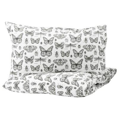 SOMMARMALVA Quilt cover and 2 pillowcases, white/dark grey, 240x220/50x80 cm