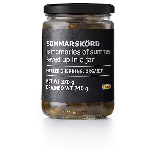 SOMMARSKÖRD Pickled gherkins, sliced, organic, 370 g