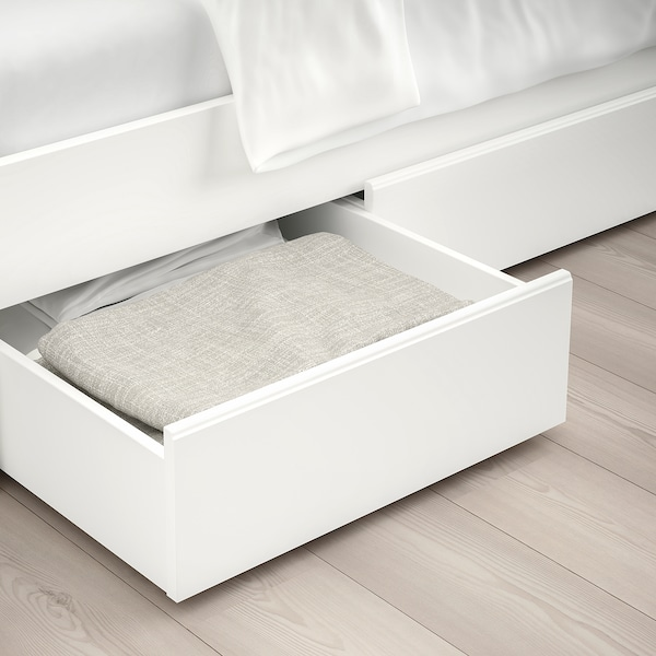 SONGESAND Bed frame with 4 storage boxes, white/Luröy, Standard Double