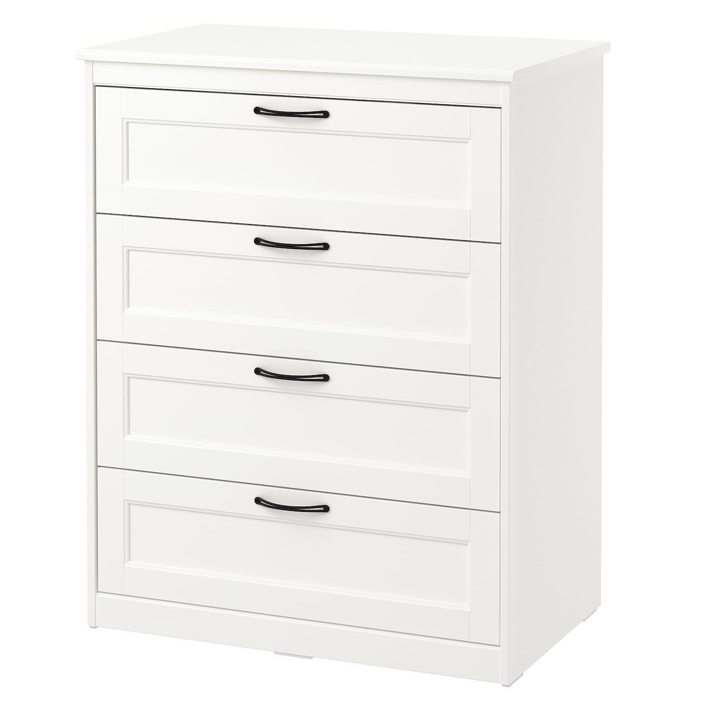Songesand chest of 4 drawers white 82 x 104 cm ikea - Ikea mesillas y comodas ...