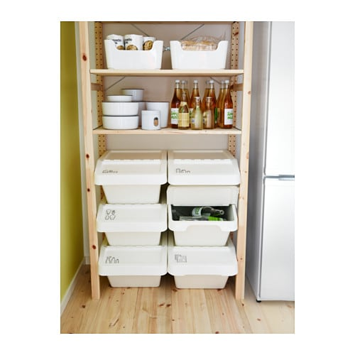 Sortera waste sorting bin with lid white 37 l ikea - Ikea cocinas accesorios ...