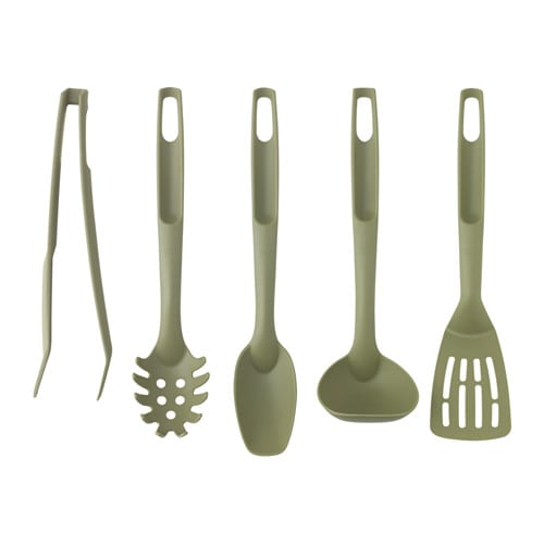 IKEA SPECIELL 5-piece kitchen utensil set Kind to pots and pans with non-stick coating.