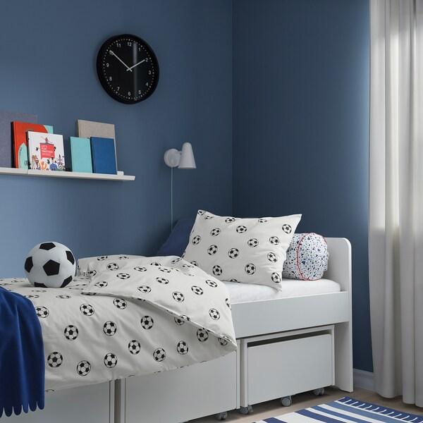 SPORTSLIG Duvet cover and pillowcase, football pattern, 150x200/50x80 cm