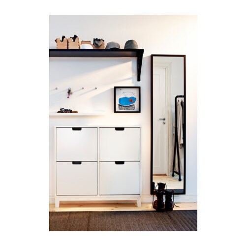 St ll shoe cabinet with 4 compartments white 96x90 cm ikea for Zapatero horizontal