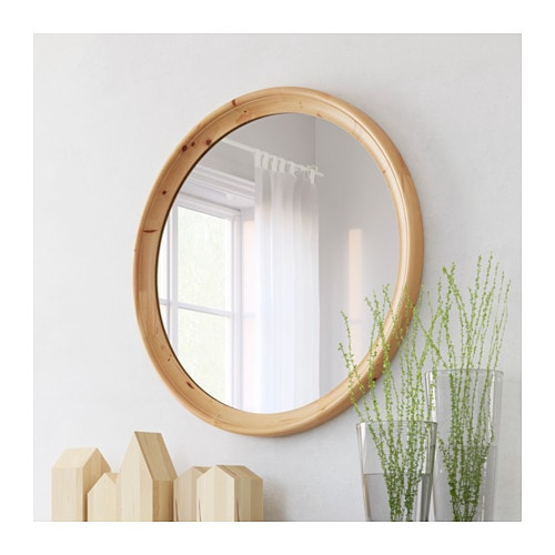 Stabekk mirror light brown 75 cm ikea for Miroir rond ikea