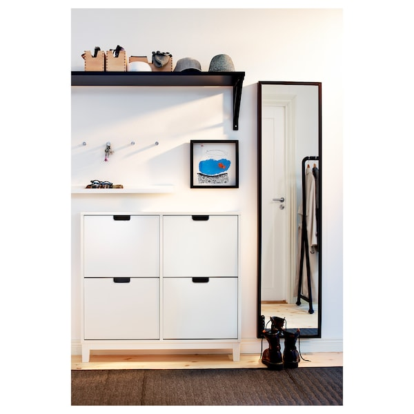 STÄLL Shoe cabinet with 4 compartments, white, 96x90 cm ...