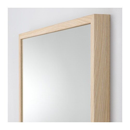Stave mirror white stained oak effect 70x70 cm ikea for Miroir 70 x 160