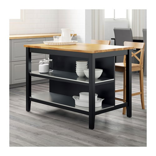 Stenstorp kitchen island black brown oak 126x79 cm ikea - Table pour cuisine ikea ...