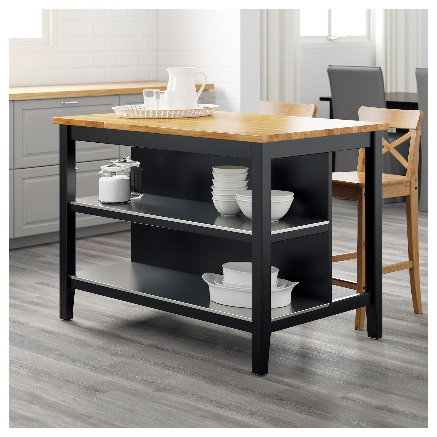 STENSTORP Kitchen island Black-brown/oak 126x79 cm - IKEA