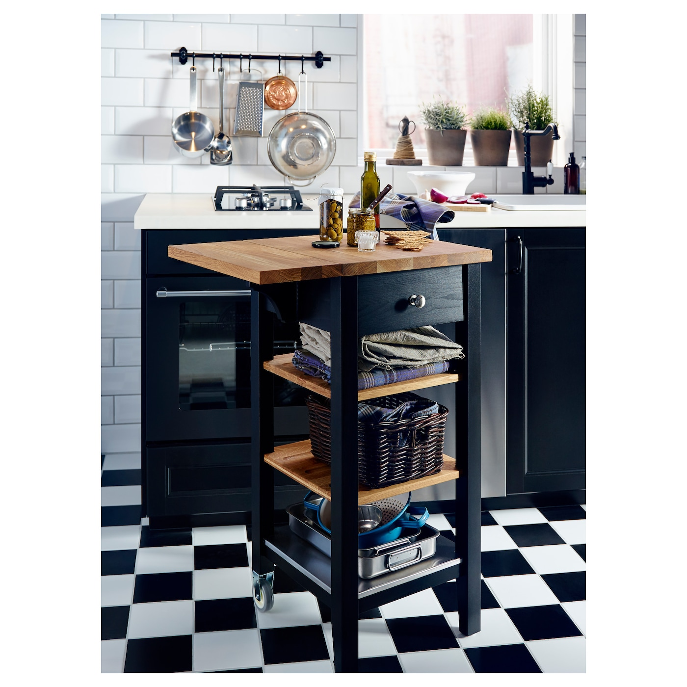 Stenstorp kitchen trolley black brown oak 45x43x90 cm ikea for Kitchen cart island ikea