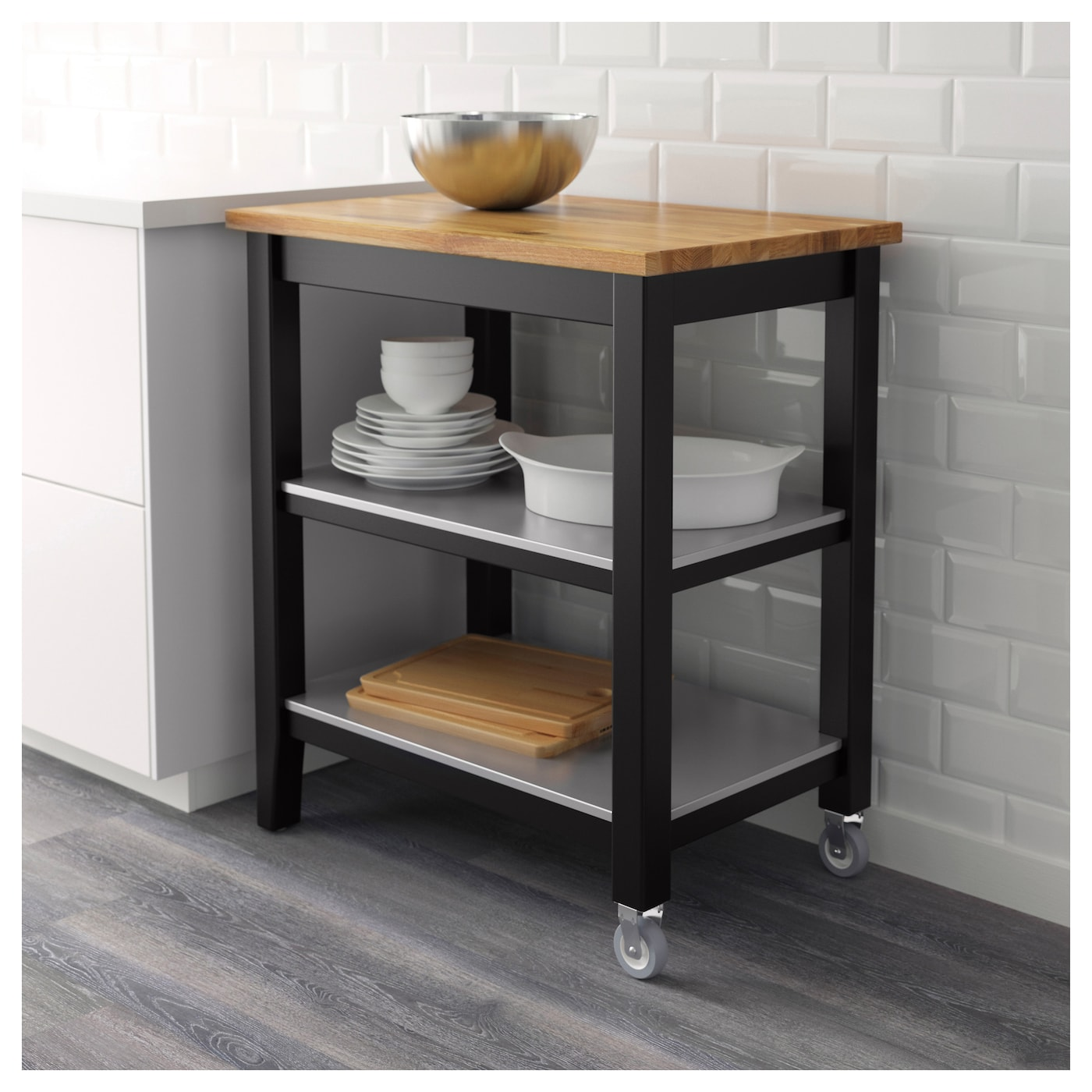 kitchen trolleys and islands stenstorp kitchen trolley black brown oak 79 x 51 x 90 cm 20136