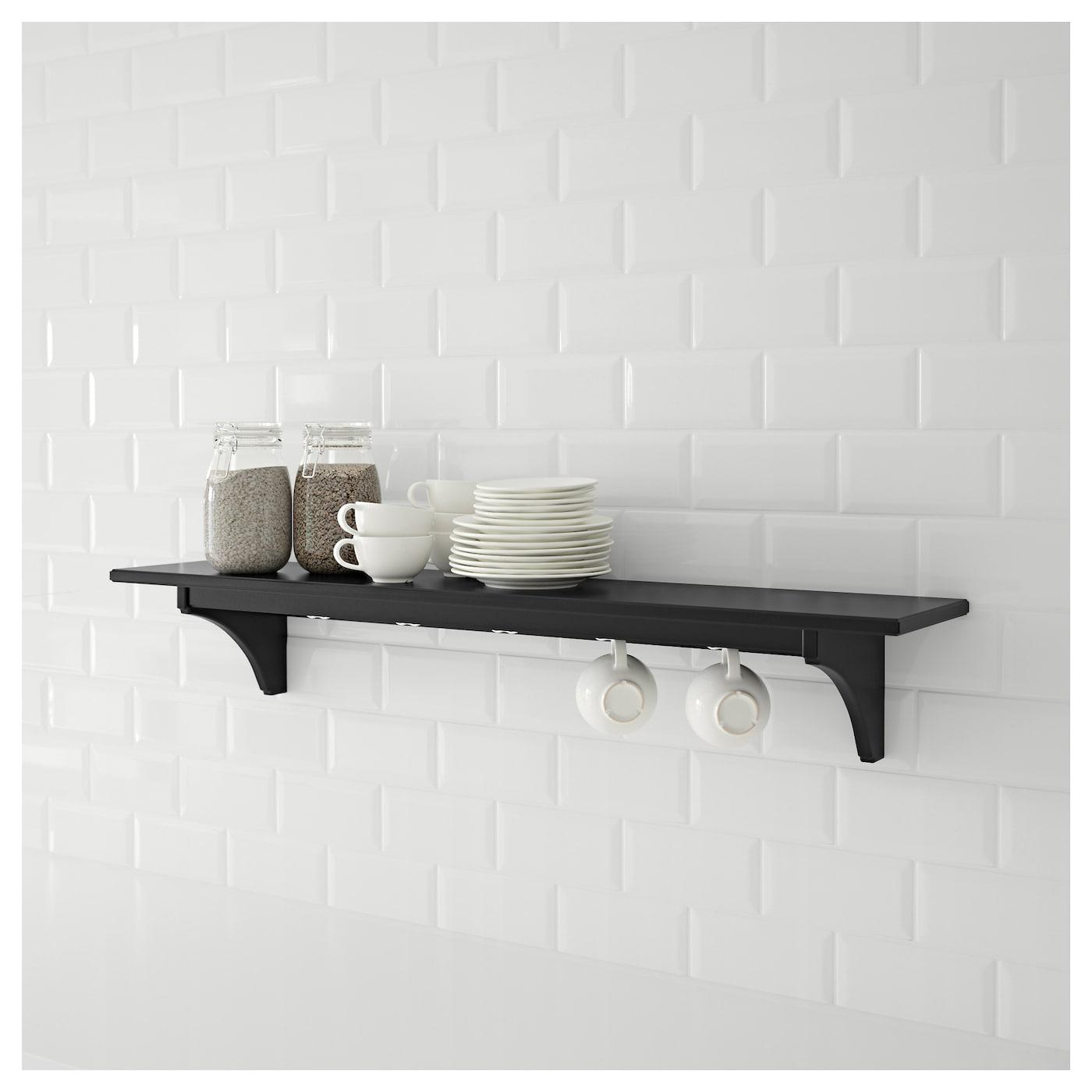 Ikea Kitchen Shelf: STENSTORP Wall Shelf Black-brown 120 Cm