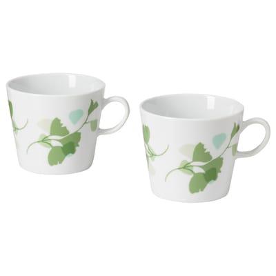 STILENLIG Mug, leaf patterned white/green, 33 cl