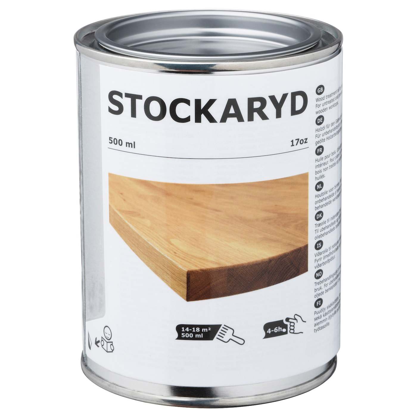 IKEA STOCKARYD wood treatment oil, indoor use Touch-dry and water repellent after 4-6 hours.