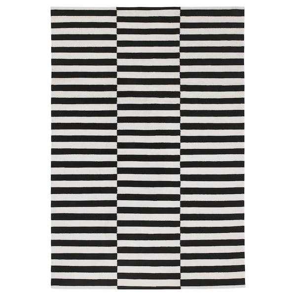STOCKHOLM Rug, flatwoven, handmade/striped black/off-white, 170x240 cm
