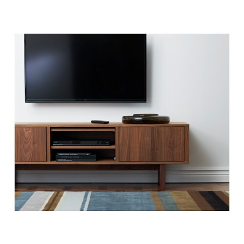 Stockholm tv bench walnut veneer 160x40 cm ikea for Meuble console tv