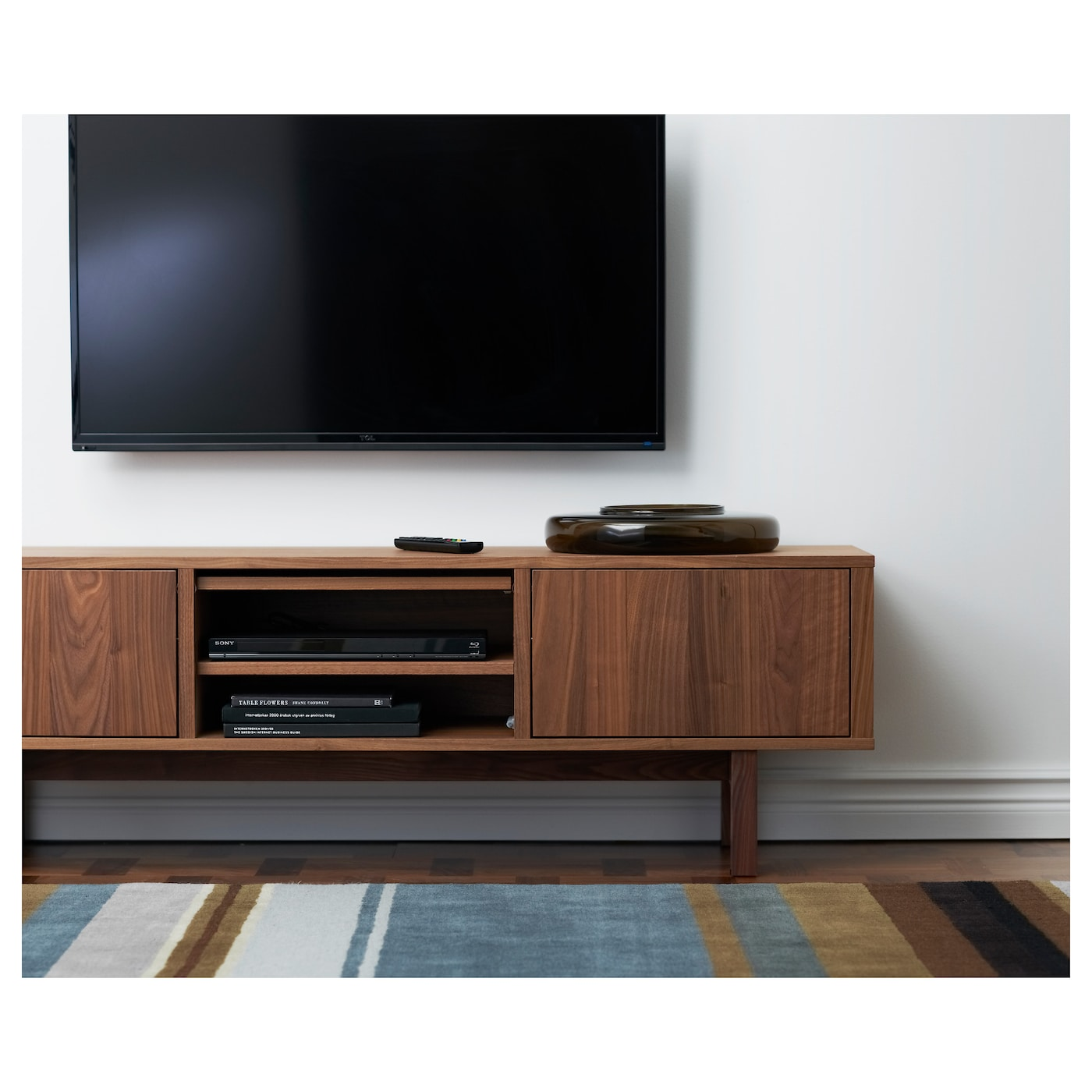 Stockholm tv bench walnut veneer 160 x 40 x 50 cm ikea for Ikea mobile tv