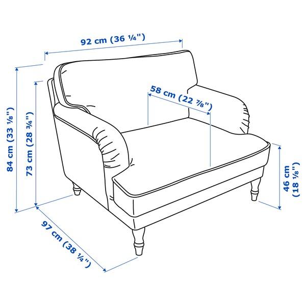 STOCKSUND Armchair, Nolhaga grey-beige/light brown/wood