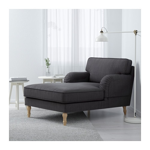 stocksund chaise longue nolhaga dark grey light brown wood. Black Bedroom Furniture Sets. Home Design Ideas
