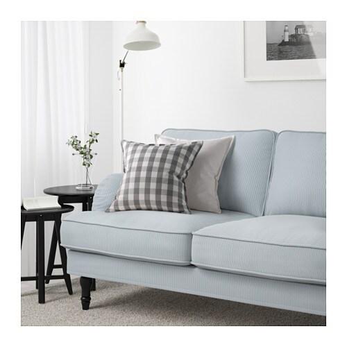 Stocksund three seat sofa remvallen blue white black wood for Sofa und seat