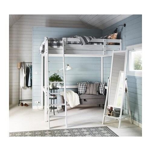 stor loft bed frame white stain 140x200 cm ikea. Black Bedroom Furniture Sets. Home Design Ideas