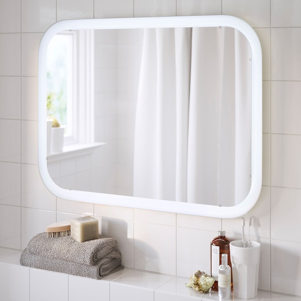 STORJORM Mirror with integrated lighting, white, 80x60 cm ...