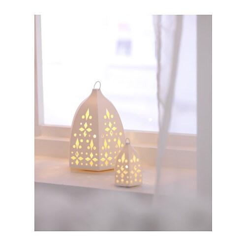 STRLA LED Lantern Set Of 3 Lace Whitebattery operated IKEA