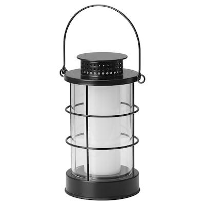 STRÅLA LED lantern, outdoor/battery-operated black