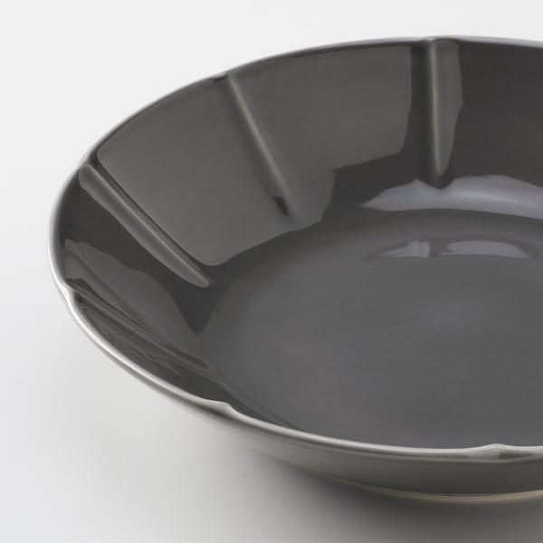 STRIMMIG Deep plate, earthenware grey, 23 cm