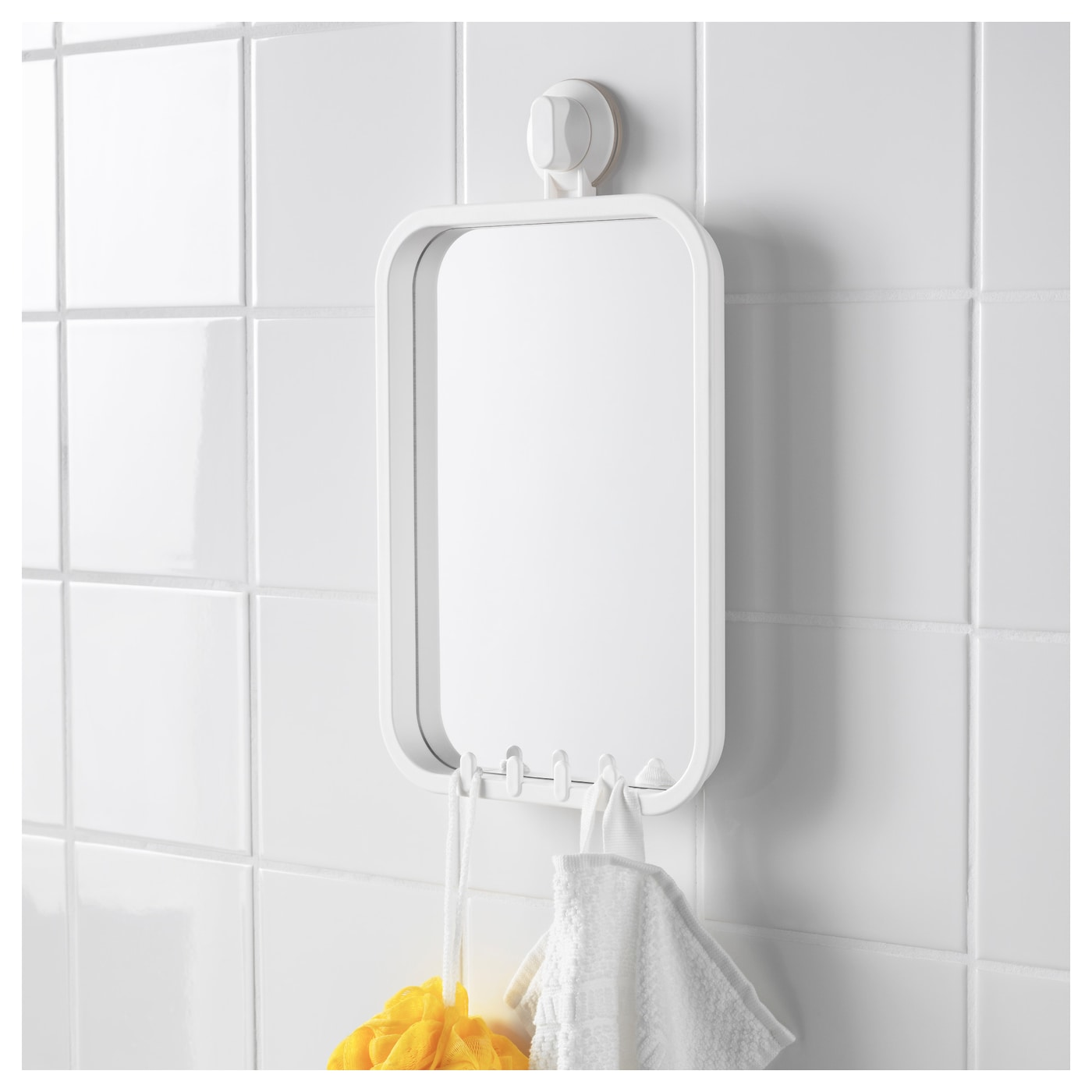 Stugvik mirror with hooks and suction cup white ikea for Mirror hooks