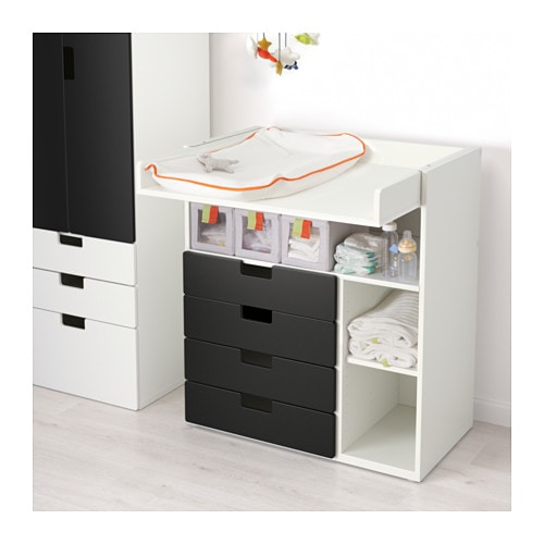 stuva changing table with 4 drawers white black 90x79x102 cm ikea. Black Bedroom Furniture Sets. Home Design Ideas