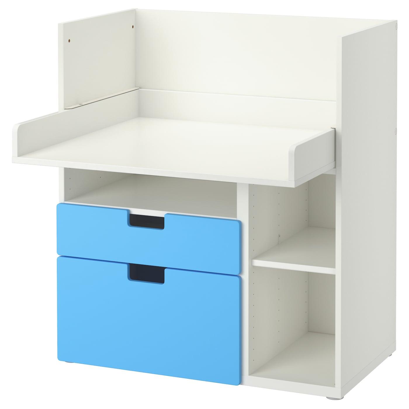stuva desk with 2 drawers white blue 90x79x102 cm ikea. Black Bedroom Furniture Sets. Home Design Ideas