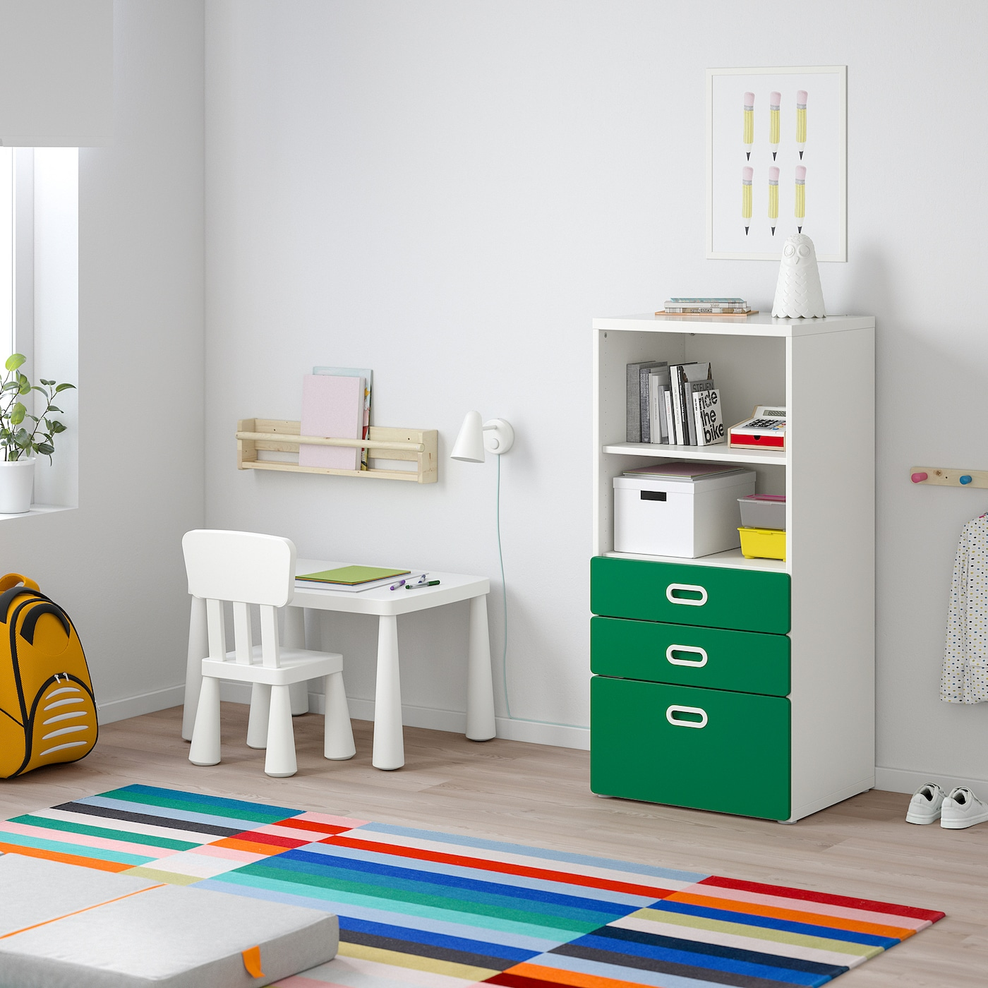 STUVA / FRITIDS bookcase with drawers white/green 60 cm 50 cm 128 cm