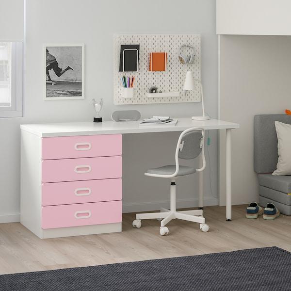 STUVA / FRITIDS Loft bed combo w 4 drawers/2 doors, white/light pink, 207x99x182 cm