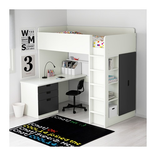 Stuva loft bed combo w 3 drawers 2 doors white black 207x99x193 cm ikea - Armoire bureau integre ...