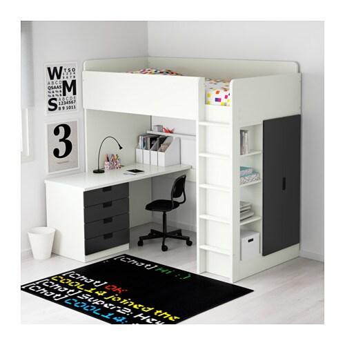 Stuva loft bed combo w 4 drawers 2 doors white black 207x99x193 cm ikea - Lit mezzanine double ikea ...