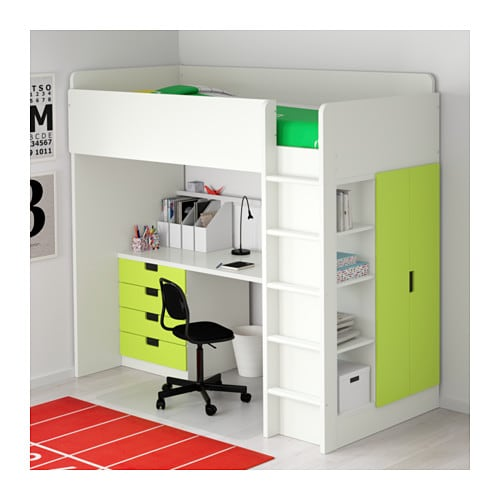 stuva loft bed combo w 4 drawers 2 doors white green 207x99x193 cm ikea. Black Bedroom Furniture Sets. Home Design Ideas
