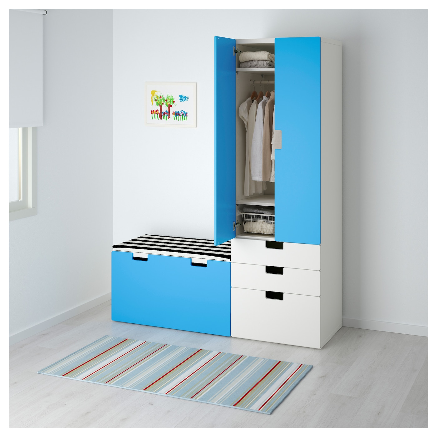 stuva storage combination with bench white blue 150x50x192 cm ikea. Black Bedroom Furniture Sets. Home Design Ideas