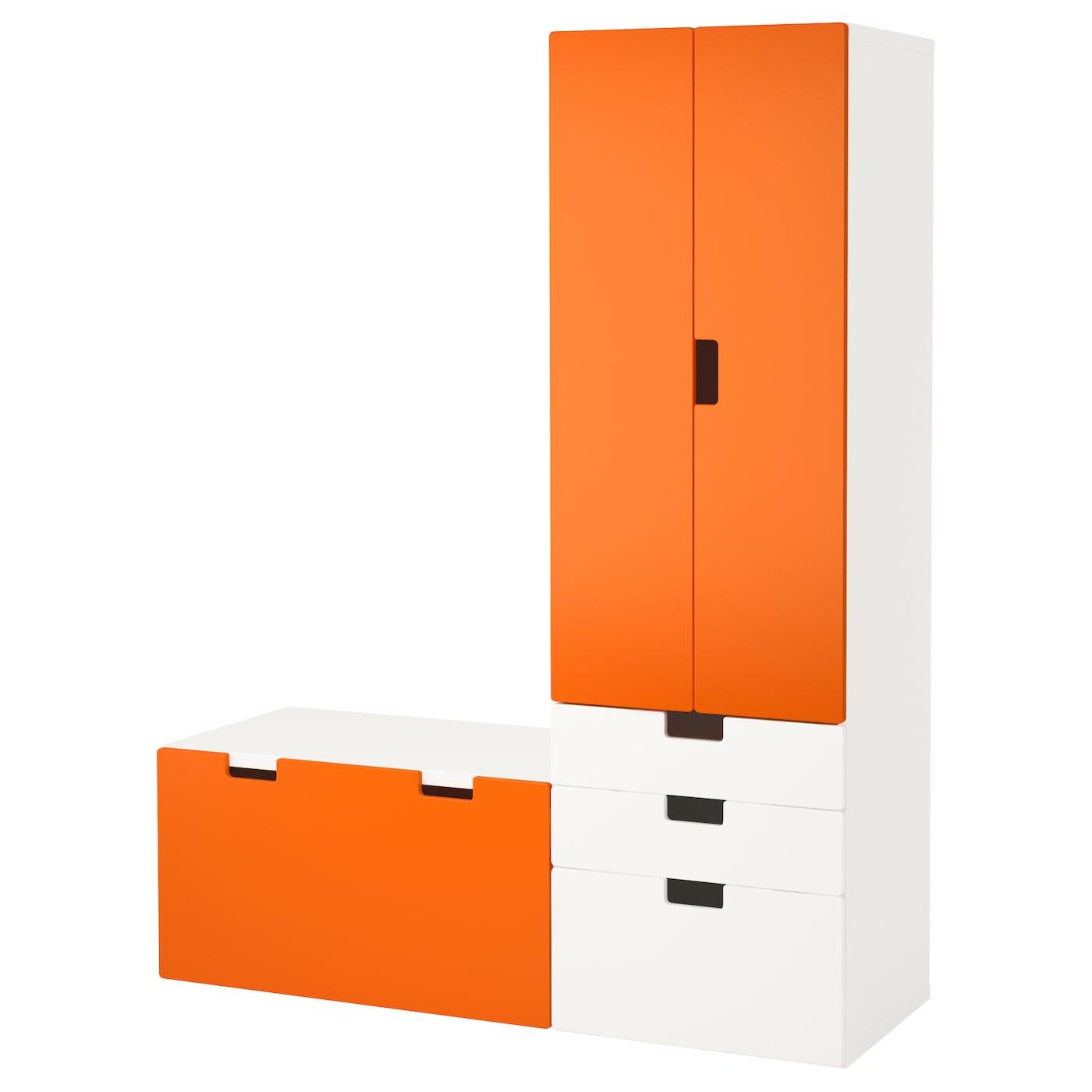Stuva Storage Combination With Bench White Orange