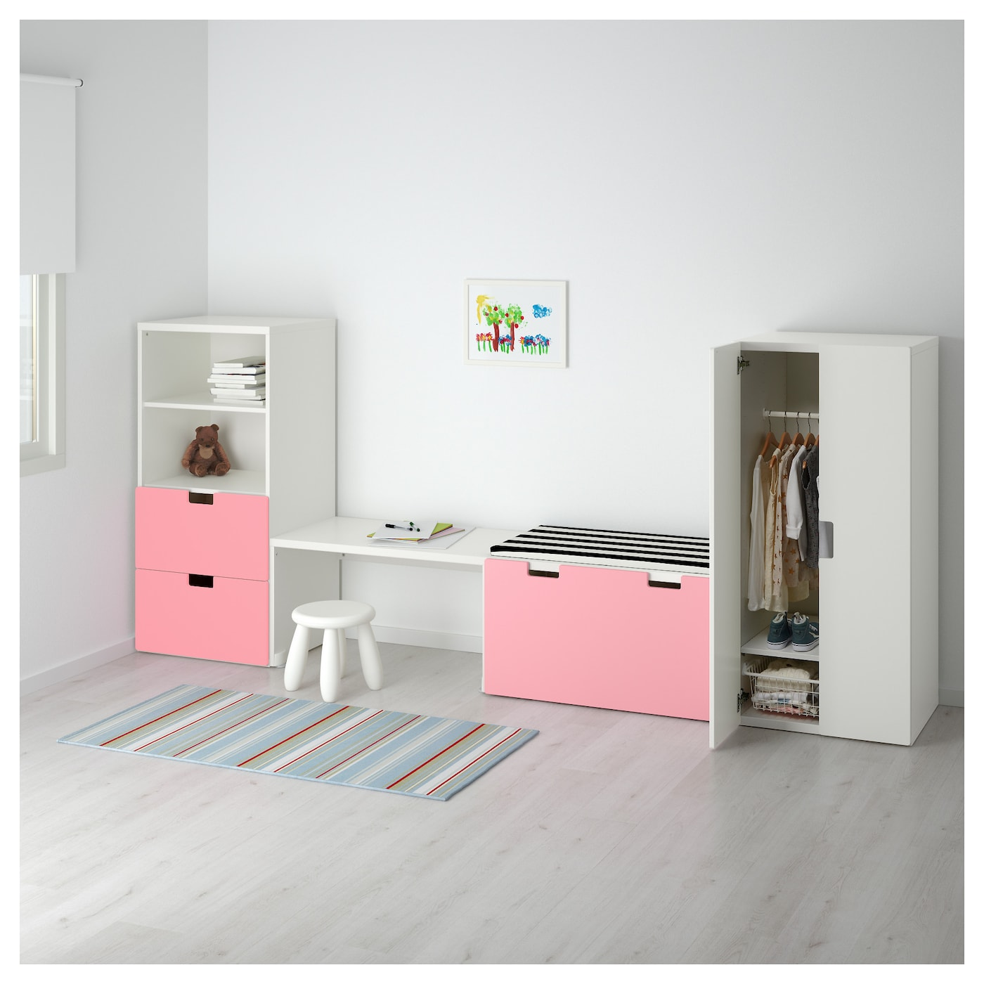 stuva storage combination with bench white pink 300x50x128 cm ikea. Black Bedroom Furniture Sets. Home Design Ideas