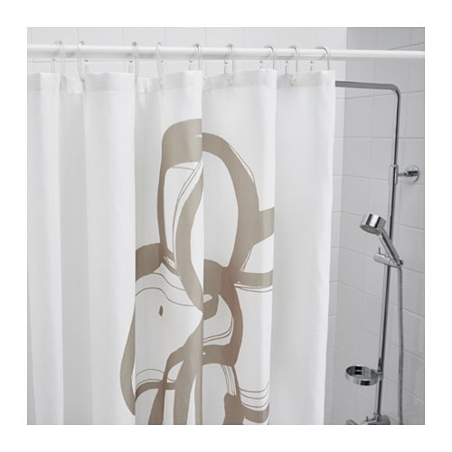 SUMMELN Shower Curtain White Beige 180x180 Cm